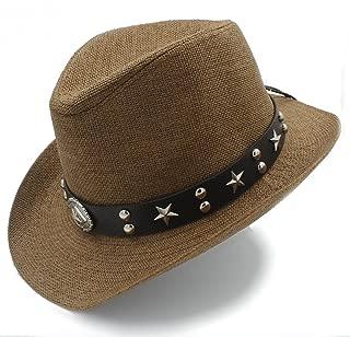 SGJFZD Women Men Beach Sun Hat Straw Western Sombrero Cowboy Hats Dad (Color : Coffee, Size : 58cm)