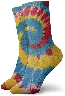 BEDKKJY, Calcetines de la tripulación Pintura al óleo Arco Iris Tie Dye Personalizado Vestido Unisex Personalizado Calcetín de Regalo Liquidación para niños