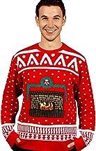 DigitalDudz Crackling Fireplace Red Christmas Jumper App Connected Knit Sweater