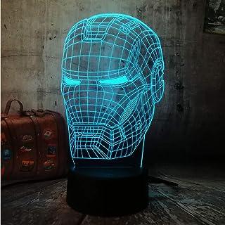 Marvel Action Figures Avengers Iron Man Night Light 3D Optical Illusion Desk Lamp 3D LED RGB 7 Color Change Kids Christmas...