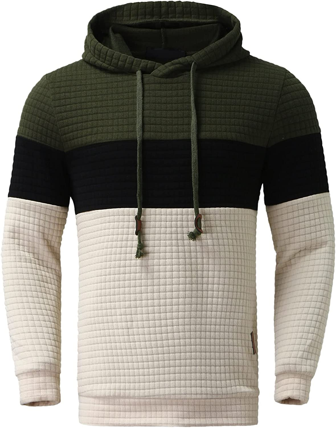 XXBR Jacquard Plaid Hooded Sweatshirts for Mens, Fall Men's Fashion Color Block Patchwork Hoodies Casual Sports Pullover