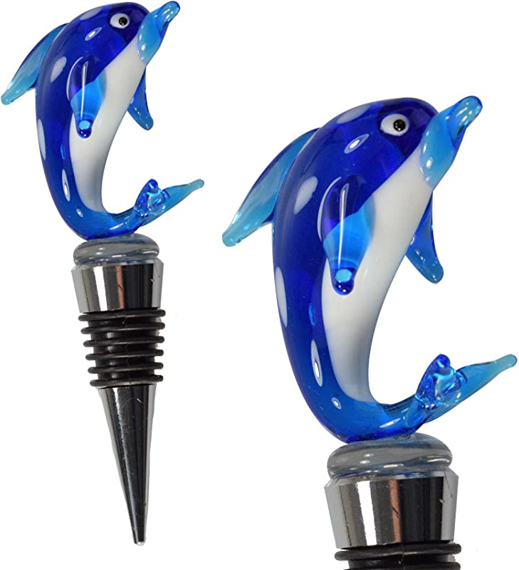 Glass Dolphin Wine Bottle Stopper Decorative Colorful Unique Handmade Eye Catching Glass Wine Stoppers Wine Accessories Gift For Host Hostess Wine Corker Sealer