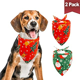 BINGPET Christmas Dog Bandanas Santa Pattern Pet Triangle Scarf Bibs Kerchief Accessories for Dogs Cats, 2 Pack