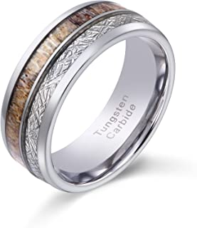 POYA 8mm Tungsten Wedding Band Men's Hunting Ring with Antler and Imitated Meteorite Inlay