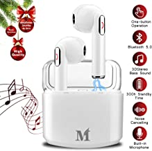 Wireless Earbuds,Bluetooth Earbuds Wireless Earphones Noise Cancelling with Mic Charging Case,Sport Running Mini True Stereo Earbuds Bluetooth Compatible Android Samsung Phones X 8 7
