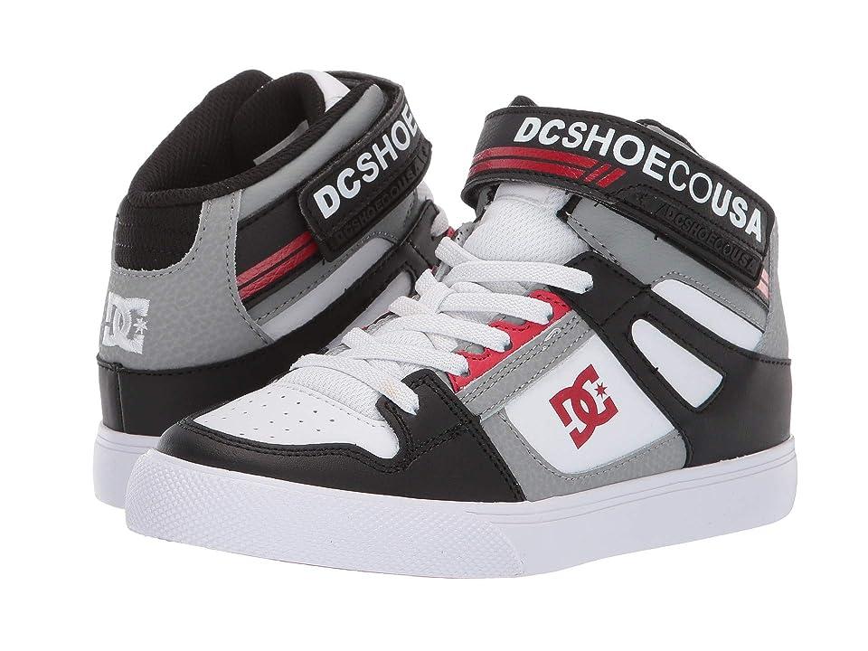 DC Kids Pure High-Top EV (Little Kid/Big Kid) (Black/Grey/Red) Boys Shoes