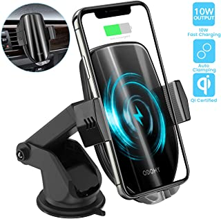 ODOMY Wireless Car Charger Mount Auto Clamping Qi Car Mount Air Vent Phone Holder 10W Fast Charging Compatible with iPhone Xs/Max/X/XR/8/8 Plus,Samsung Note 9/S9/ S9+/ S8/S8+