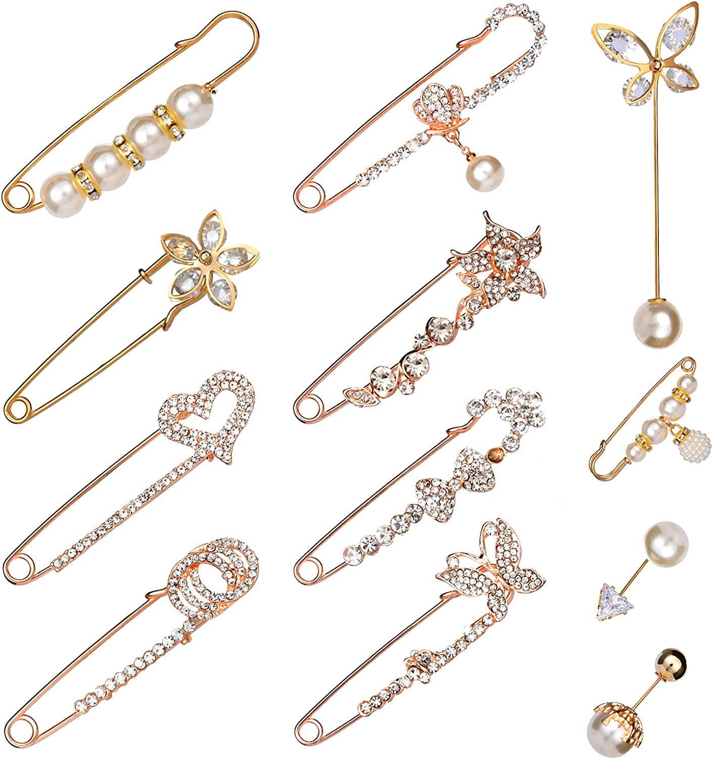 RUMIA Faux Pearl Brooch Pins, 12 Pieces Women Sweater Shawl Pins Set Girls Fashion Clothing Decoration