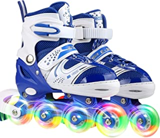 Youth Children's Inline Skates for Kids, Adjustable Roller Blades with Light Up Wheels for Girls Boys, Indoor&Outdoor Ice Skating Equipment in Small Medium Size, Blue&Purple