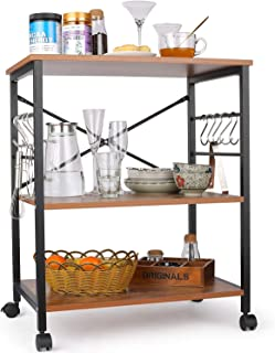 Himimi étagère de cuisine Chariot de service étagère micro-ondes avec 10 crochets, marron clair
