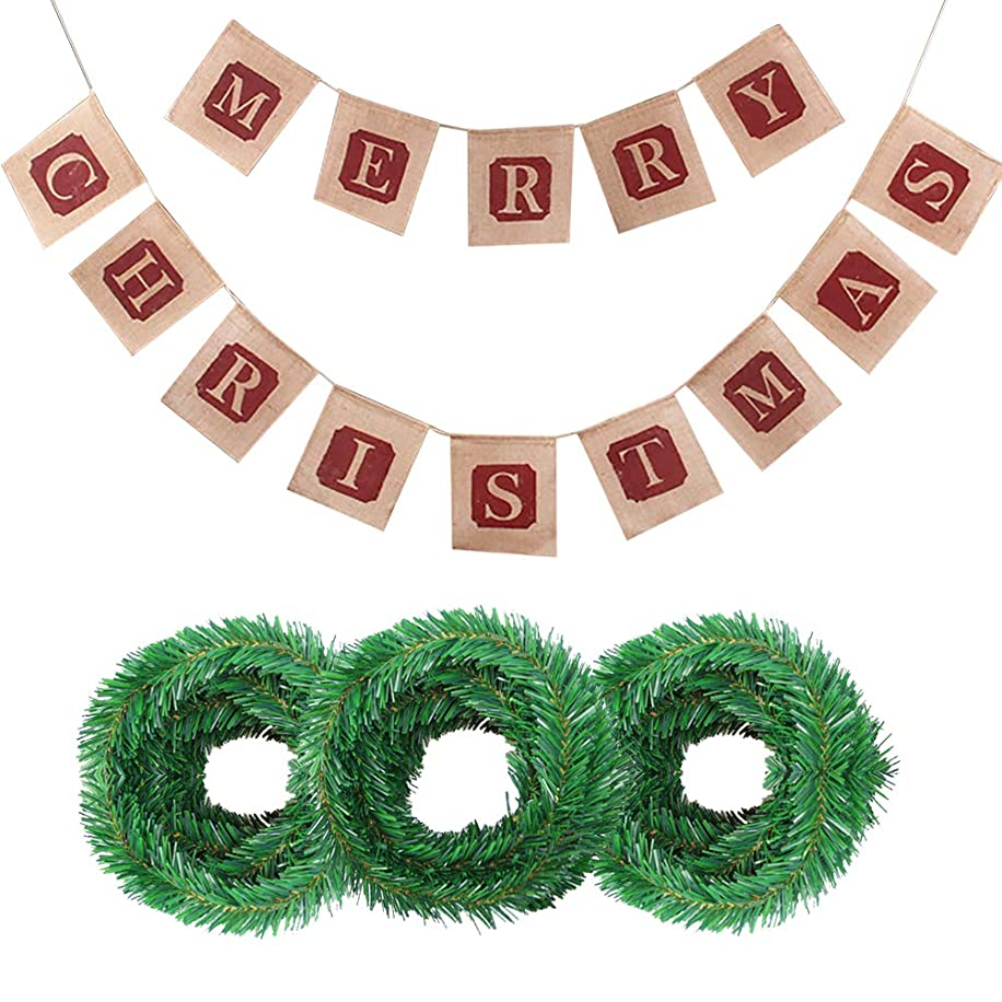 Christmas Decorations Kit - Merry Christmas Burlap Banners, 54ft Green Christmas Garland Decorations, Christmas Party Supplies