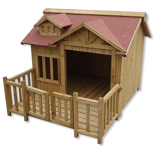 XL lujo caseta perros perrera madera balcón terraza jardín exterior mascotas extra grande