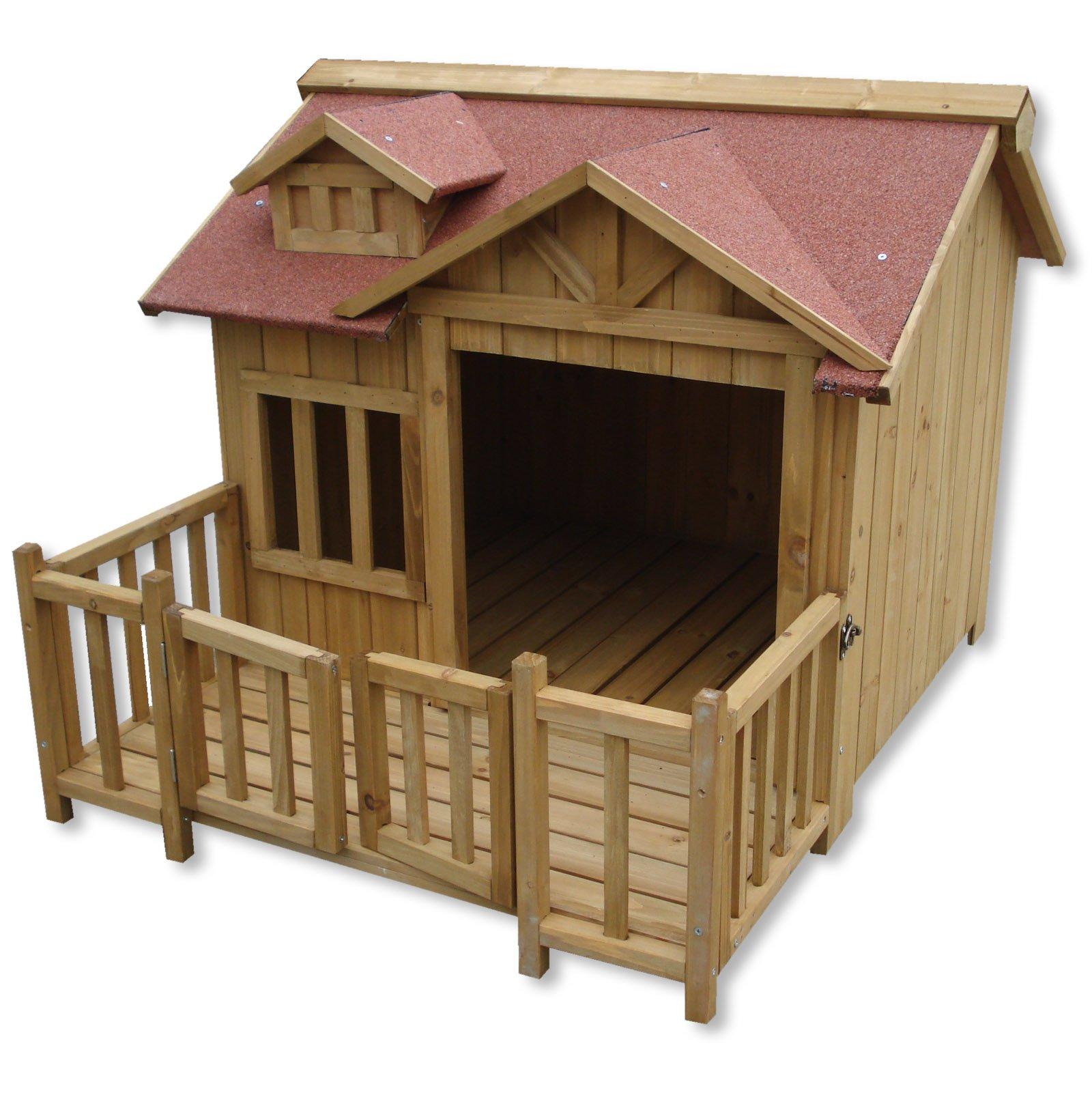 WilTec Caseta Perros XL Luxus Perrera Madera balcón terraza jardín Exterior Mascotas Extra Grande: Amazon.es: Productos para mascotas