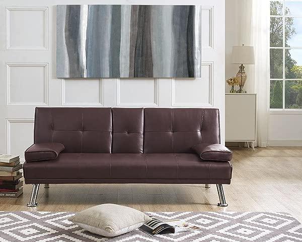 Naomi Home Futon Sofa Bed With Armrest Espresso