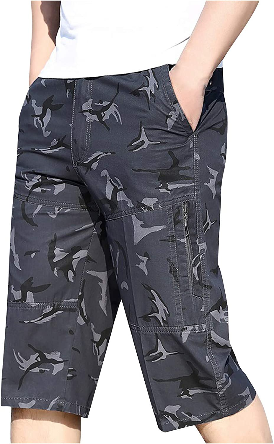 Cargo Shorts for Men,Kcocoo Plus Size Casual Classic Fit Short Below Knee Length with Multi-Pockets Sweatpant 3/4 Capri Pants