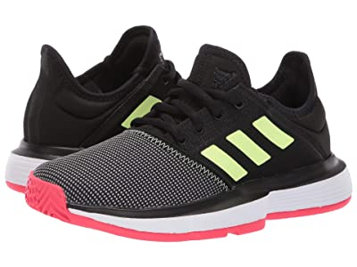 adidas Kids SoleCourt xJ Tennis (Little Kid/Big Kid) (Core Black/Hi-Res Yellow/Shock Red) Kids Shoes