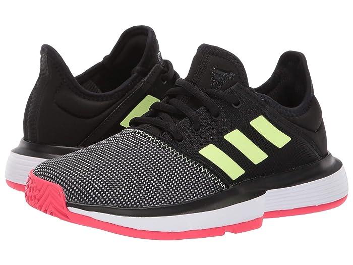 adidas Kids  SoleCourt xJ Tennis (Little Kid/Big Kid) (Core Black/Hi-Res YellowithShock Red) Kids Shoes