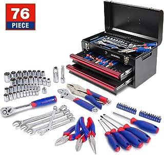WORKPRO W009031A 76-Piece Mechanic Tool Kit with Heavy Duty Metal Box, Chrome Vanadium Steel Daily use Basic Tool Set
