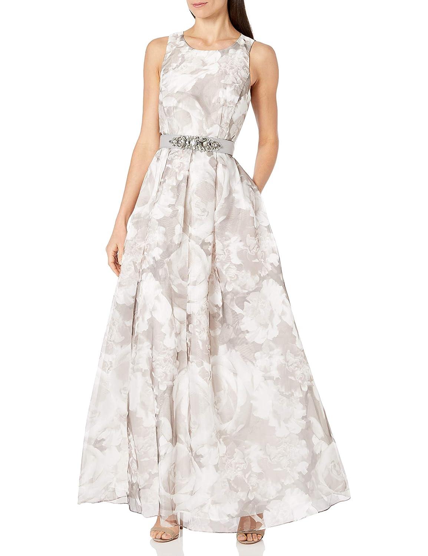 Amazon.com Eliza J Women's Ballgown with Beaded Belt, Silver, 20 ...