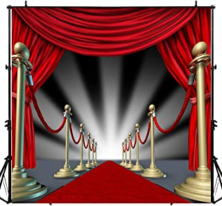 Sensfun 8x8ft Red Carpet Curtain Photography Backdrops Oscar Hollywood Theme Prom Party Decorations Backdrop Background fo...