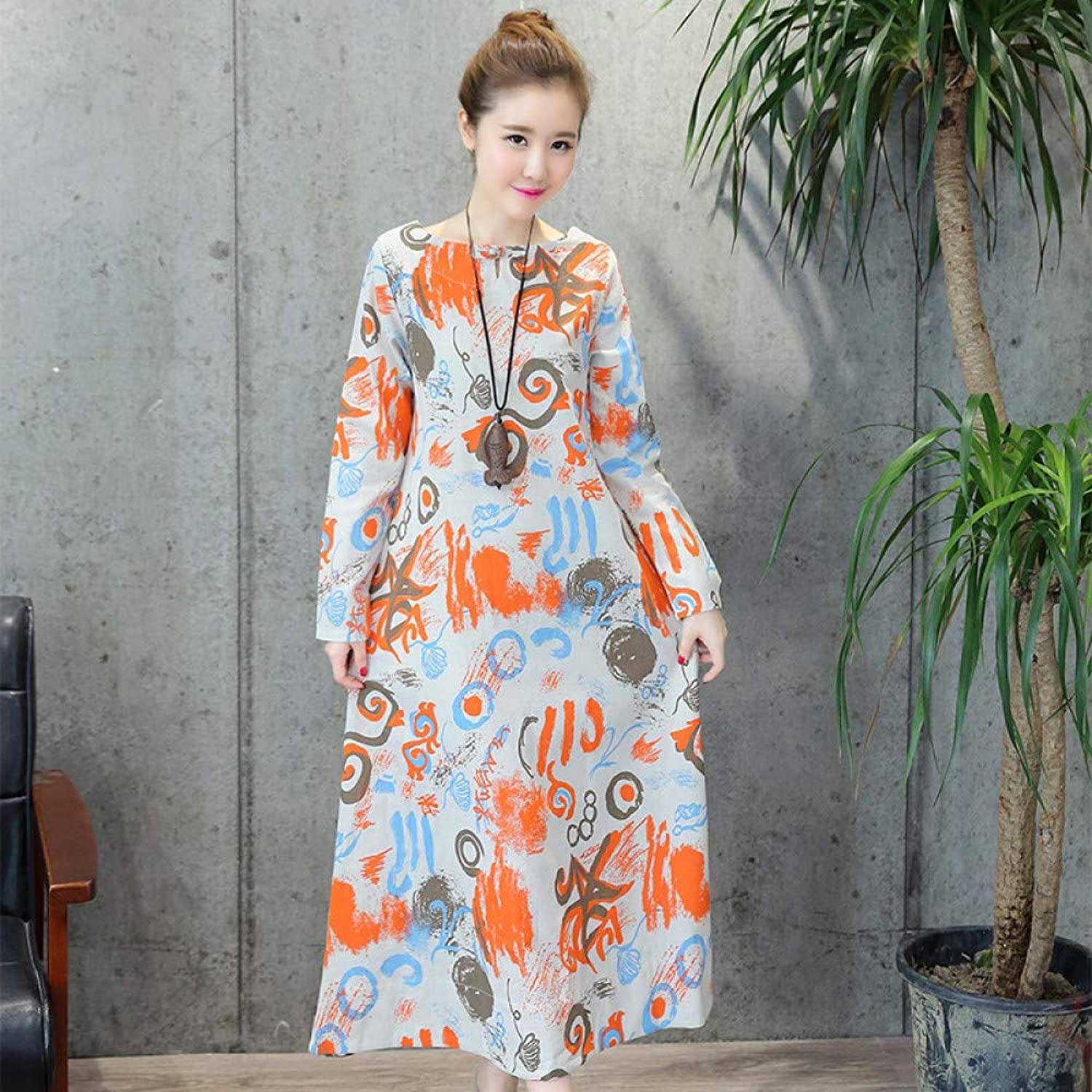 Cxlyq Dresses Autumn Large Size Women's Buckle Printed Long Sleeve Cotton and Linen Dress