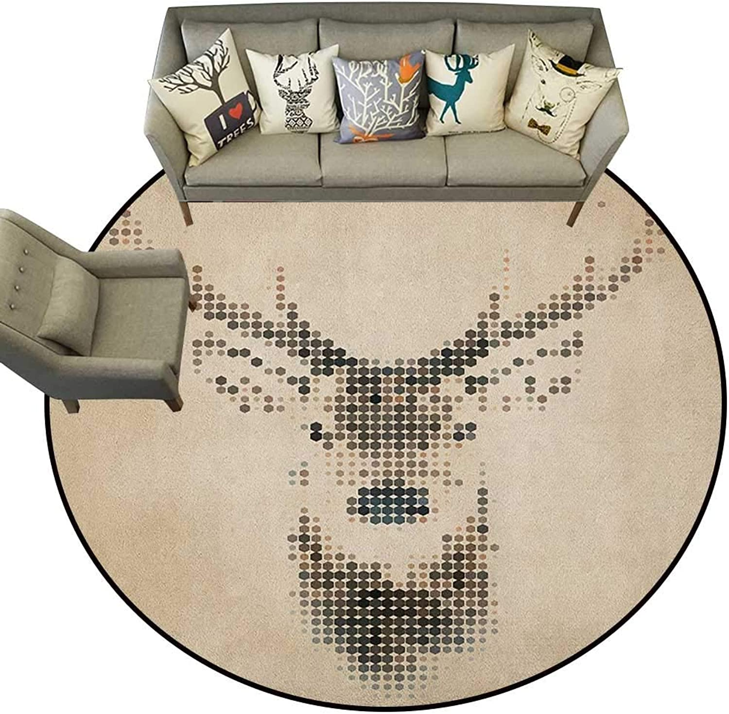Deer,Personalized Floor mats Retro Style Deer Portrait with Digital Dots and Geometric Circle Vintage Graphic D40 Floor Mat Entrance Doormat