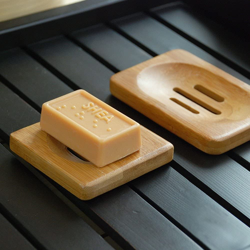 1Pc Wooden Natural Bamboo Soap Dishes Tray Holder Storage Soap Rack Plate Box