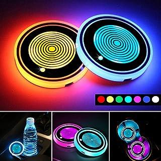 چراغ نگهدارنده لیوان اتومبیل LED ، 7 رنگ تعویض تشک شارژ USB پد جام ضد آب ، چراغ داخلی چراغ اتمسفر چراغ تزئینی لوازم جانبی خودرو (2 عدد) (4 حلقه)
