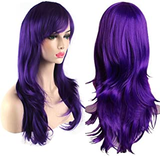 AKStore Women's Heat Resistant 28-Inch 70cm Long Curly Hair Wig with Wig Cap, Purple