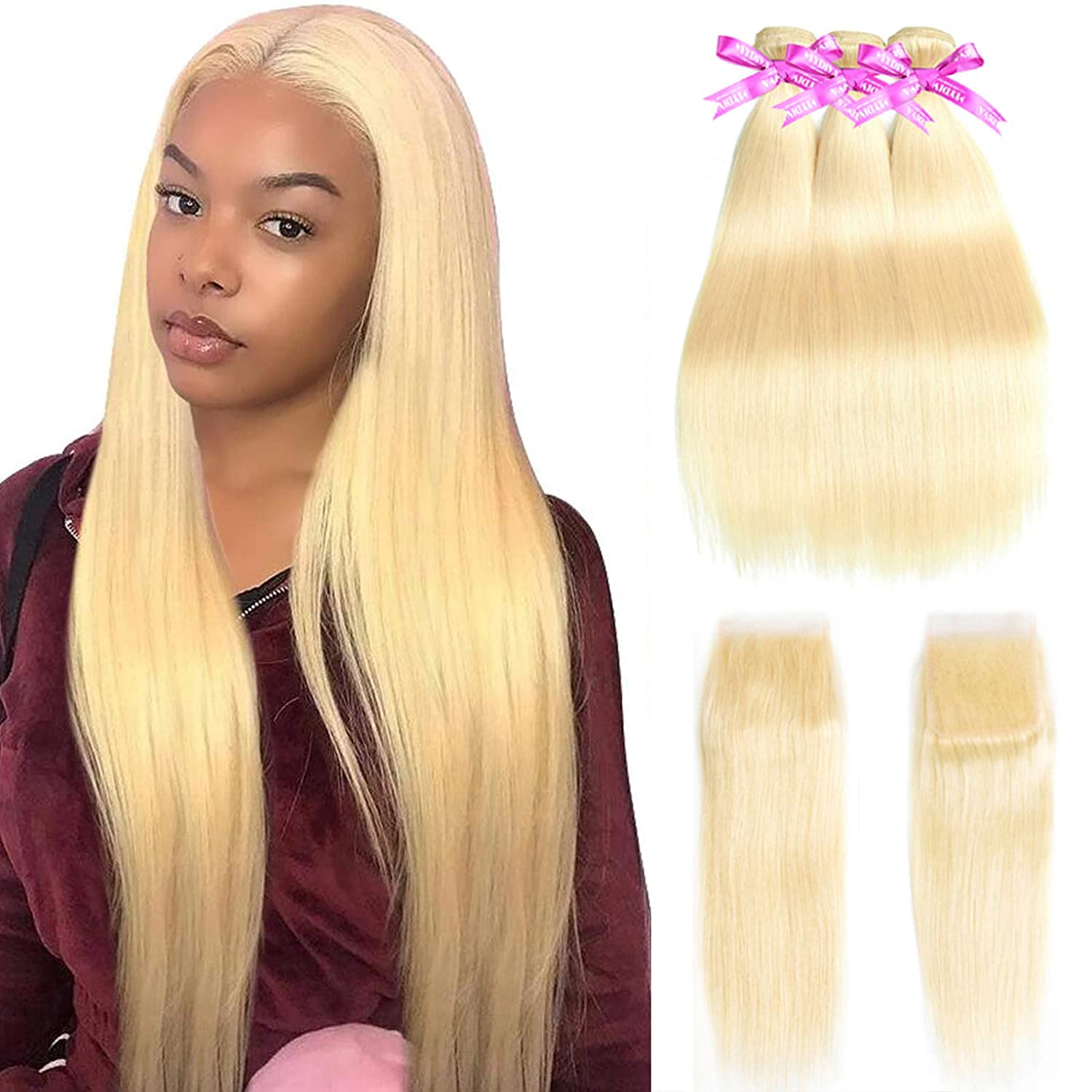 MYDIVA Sale Limited Special Price item 613 Bundles with Frontal Human Hair 3 Braz Blonde