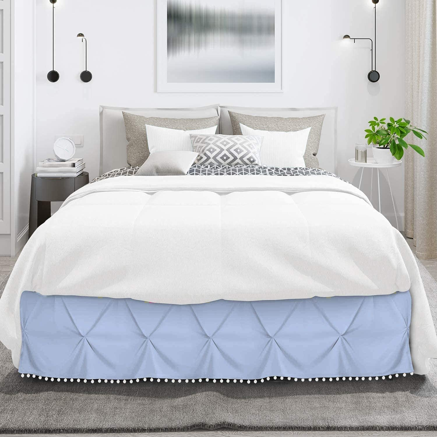 Ranking TOP15 International Sheets Pom Seattle Mall Pinch Pleated Egyptia 100% BedSkirt