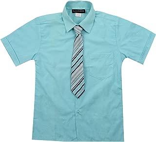 Toddler Boy's Short Sleeve Formal Button Down Dress Shirt & Tie Set