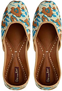 Dip your toes Genuine Leather Closed Toe Surface Printed Jutti for Women's