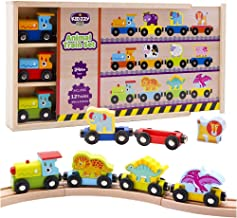Wooden Trains Set (21 PCS) with 3 Dinosaurs 3 Farm 3 Zoo Animals with Box and Cover - Train Toys Magnetic Set Toy Train Sets for Kids Toddler Gift for Christmas and Birthday for Boys and Girls