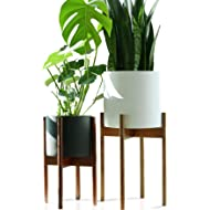 "Fox & Fern Mid-Century Modern Plant Stand- Tall Version - Acacia - EXCLUDING 10"" White Ceramic..."