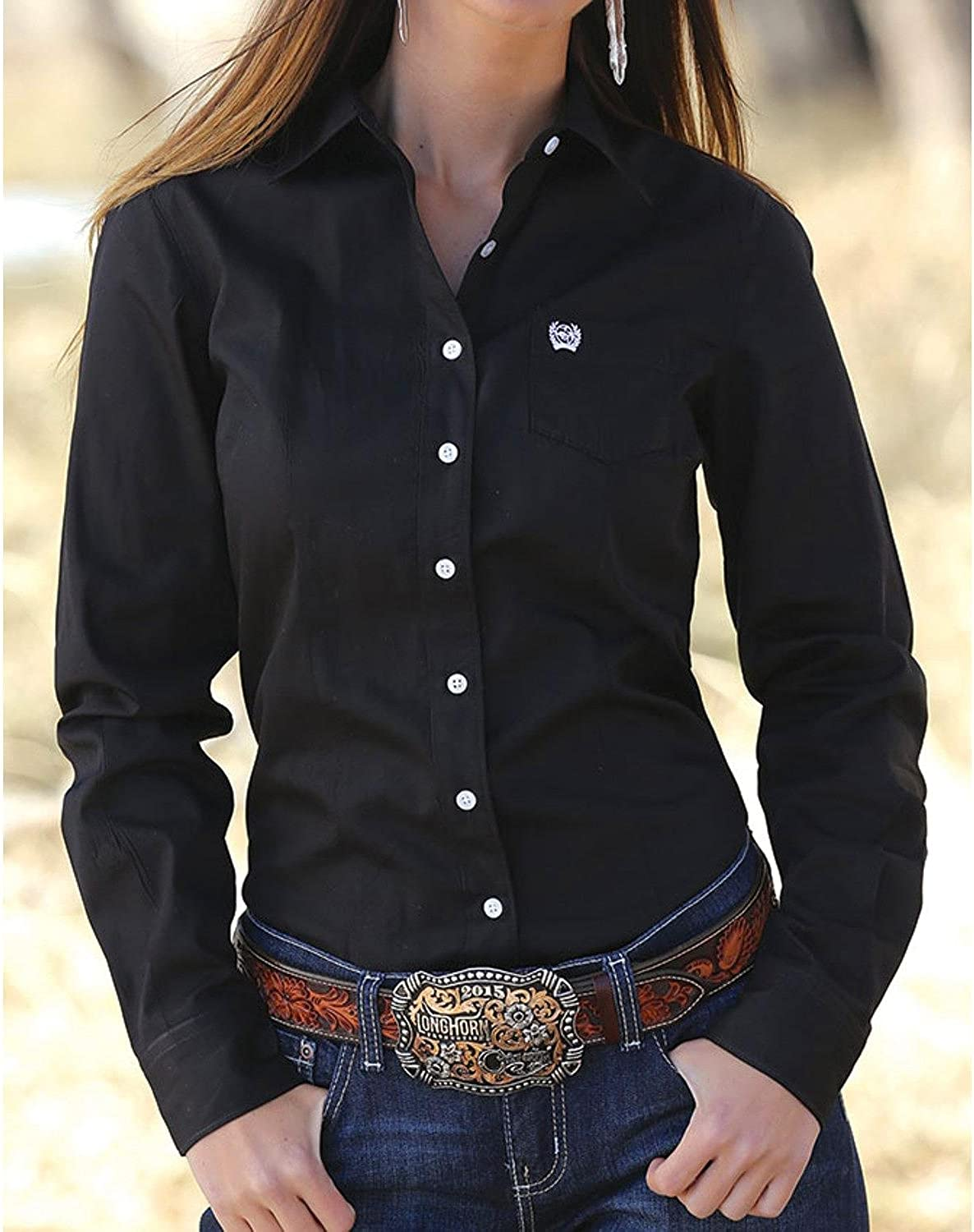 Cinch Western Shirt Womens L S Weave Button Pocket Black MSW9164027