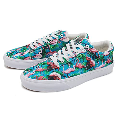 a90696ae3df99d cozyshoeson Unisex Tropical Plant Flamingo Lover Canvas Shoes Sneakers White