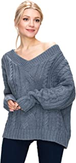 BodiLove Women's V Neck Cable Knit Oversized Loose Fit Sweater
