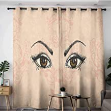 Doorway Curtains,Eyelash Sketch Style Pair of Woman Eyes Female Look with Victorian Floral Ornaments,Great for Living Rooms & Bedrooms,W120x72L Peach Black Amber