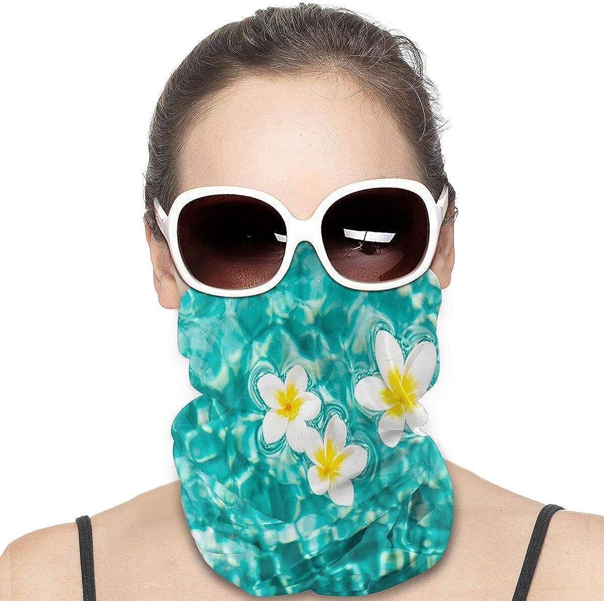 KiuLoam Women Bandanas Face Mask, Tropical Zen Plumeria Flower in Water Neck Gaiter Mask Headband for Men Face Scarf Dust, Outdoors, Sports