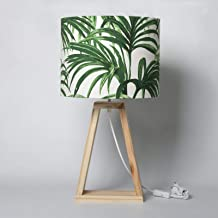 Abajur Palm de Mesa com Cúpula Folhas em Tecido e Base em Madeira 56x30 - Carambola