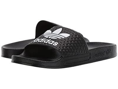 adidas Originals Kids Adilette (Little Kid/Big Kid) (Black/White) Kids Shoes