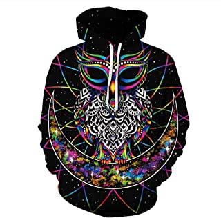 Leezeshaw 3D Halloween Hoodie Unisex Realistic 3D Digital Print Pullover Hooded Sweatshirt Hoodies with Big Pockets