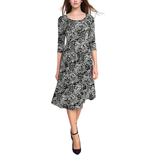 ee3aebc952 BaiShengGT Women's 3/4 Sleeves Pleated Front Pockets Flared Midi Dress
