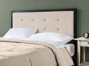 Zinus Barbara Headboard   Upholstered Button Tufted Fabric Bed Head, Metal Frame, High Density Foam - Cream