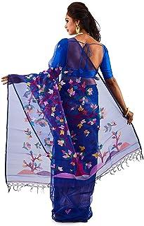 SareesofBengal Women's Muslin Handloom Jamdani Dhakai Silk Saree Royal Blue