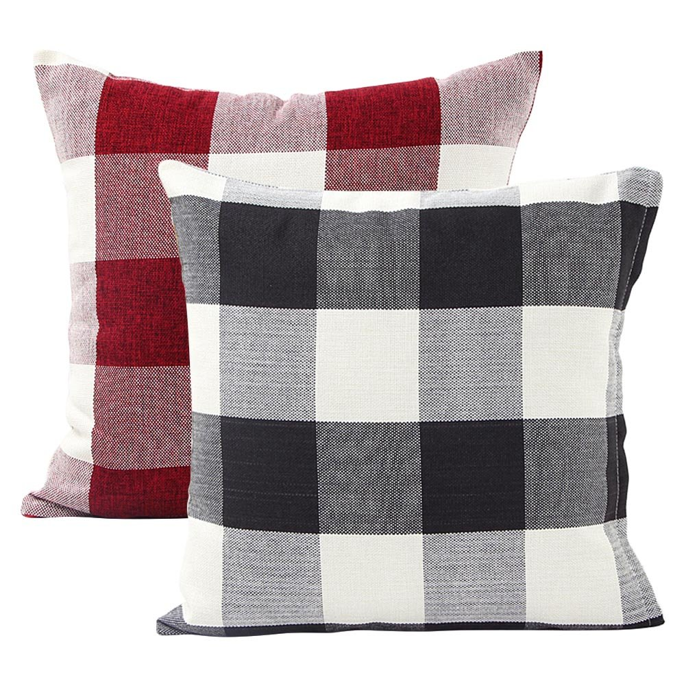 Set de 2 Classic Retro damas Plaids manta de lino y algodón cuadrado decorativo funda de almohada Funda de cojín almohada cojín caso 18 x 18 pulgadas: Amazon.es: Hogar