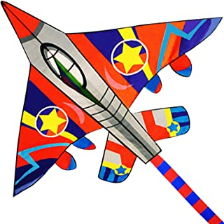 """HONBO Huge Fighter Plane Kite for Kids and Adults- 58"""" Wide with Long Tail- Easy Flyer - Kit Line and Swivel Included-"""
