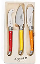 Laguiole By FlyingColors Butter Knife Spreader Cheese Knife Set, with Wooden Gift Holder, 3 Pieces (Multicolor)