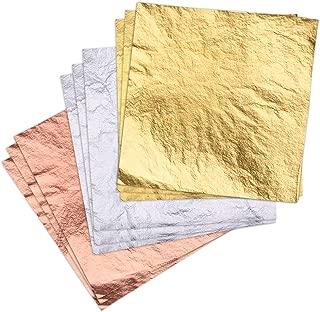 OPount 300 Leaf Sheets Imitation Gold (100) Imitation Silver (100) Rose Gold (100) 14 X 14 cm for Art, Crafts Decoration, Gilding Crafting, Frames